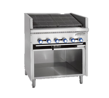 "superior-equipment-supply - Imperial - Imperial Stainless Steel Four Burner 72"" Wide Floor Model Steakhouse Gas Charbroiler"