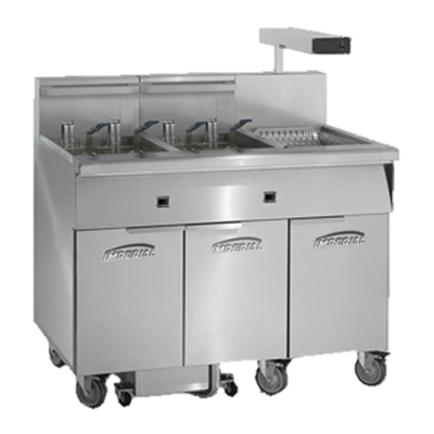 "superior-equipment-supply - Imperial - Imperial Stainless Steel 46.5"" Wide Two Battery Electric Floor Model Fryer"