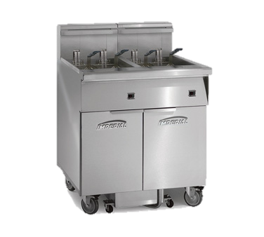 "superior-equipment-supply - Imperial - Imperial Stainless Steel Four Battery Space Saver Filter System 78"" Wide Electric Floor Model Fryer"
