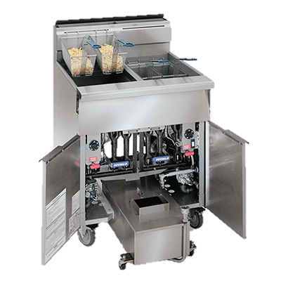 "superior-equipment-supply - Imperial - Imperial Stainless Steel Three Battery Computer Controls 58.5"" Wide Gas Heavy Duty Range Match Fryer"