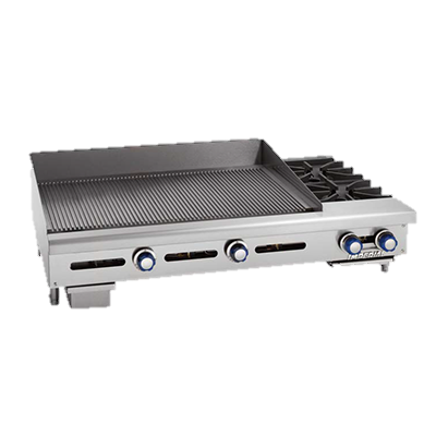"Imperial Stainless Steel Two Burner 48"" Gas Griddle/Hotplate"