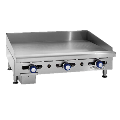 "Imperial Stainless Steel Front, Sides, Splash Guards & Ledge 36"" Wide Gas Countertop Griddle"