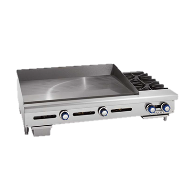 "superior-equipment-supply - Imperial - Imperial Stainless Steel Thermostatic Controls Two Burner 72"" Wide Gas Countertop Griddle/Hotplate"