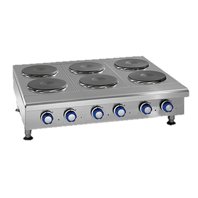 "Imperial Stainless Steel Three Round Plate Elements 36"" Wide Electric Countertop Hotplate"