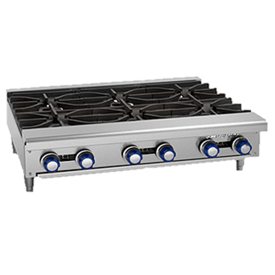 "Imperial Stainless Steel Six Burner 36"" Wide Gas Hotplate"