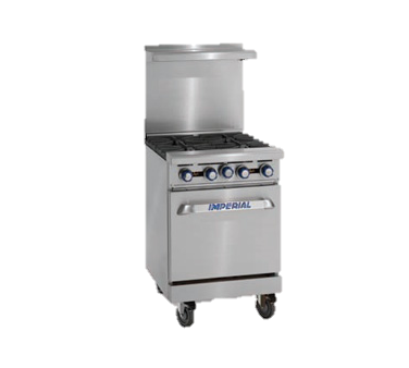 "superior-equipment-supply - Imperial - Imperial Stainless Steel Four Burner Open Cabinet 24"" Wide Restaurant Range"