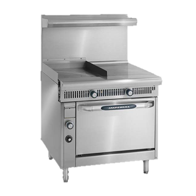 "superior-equipment-supply - Imperial - Imperial Stainless Steel Thermostatic Controls Two Burner & Griddle Open Cabinet 36"" Wide Heavy Duty Gas Range"