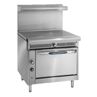 "superior-equipment-supply - Imperial - Imperial Stainless Steel Two French Tops Manual Controls 36"" Wide Heavy Duty Gas Range"