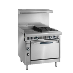 "superior-equipment-supply - Imperial - Imperial Stainless Steel Two Burner 24"" Wide Griddle Open Cabinet 36"" Wide Heavy Duty Gas Range"