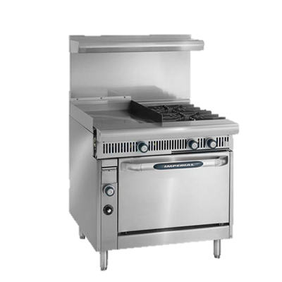 "superior-equipment-supply - Imperial - Imperial Stainless Thermostatic Controls Steel Two Burner & Griddle 36"" Wide Heavy Duty Gas Range"