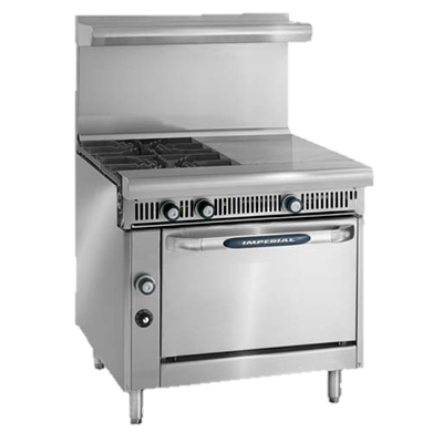 "superior-equipment-supply - Imperial - Imperial Stainless Steel Two Burner Two Hot Top Manual Controls 36"" Wide Heavy Duty Gas Range"