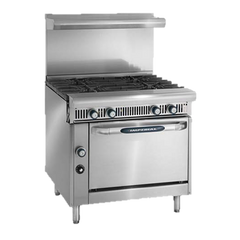 "superior-equipment-supply - Imperial - Imperial Stainless Steel Four Open Burner Convection Oven 36"" Wide Heavy Duty Gas Range"