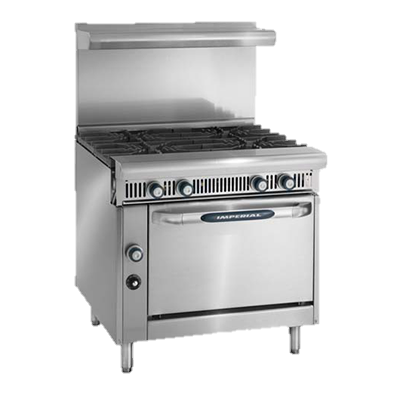 "superior-equipment-supply - Imperial - Imperial Stainless Steel Four Burner Open Cabinet 36"" Wide Heavy Duty Gas Range"