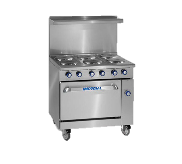 "Imperial Stainless Steel Six round Elements 36"" Wide Electric Restaurant Range"