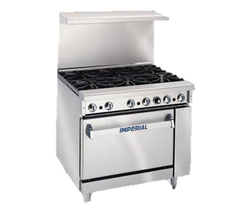 "superior-equipment-supply - Imperial - Imperial Stainless Steel Six Burner Open Cabinet 36"" Wide Gas Restaurant Range"