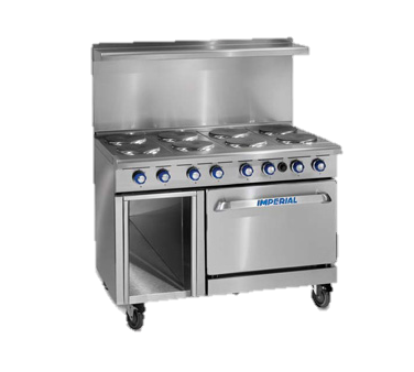"superior-equipment-supply - Imperial - Imperial Stainless Steel Four Round Elements & Thermostatic Griddle 48"" Wide Electric Range"
