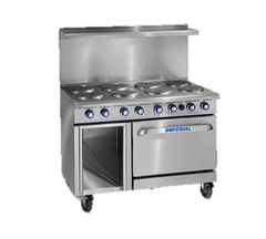 "superior-equipment-supply - Imperial - Imperial Stainless Steel Four Round Elements & Thermostatic Griddle Convection Oven 48"" Wide Electric Range"