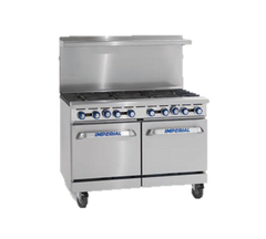 "superior-equipment-supply - Imperial - Imperial Stainless Steel Six Burner & Griddle Convection Oven 48"" Wide Gas Range"