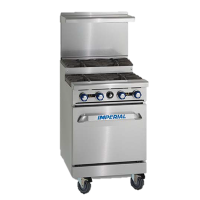 "superior-equipment-supply - Imperial - Imperial Stainless Steel Ten Open & Step-Up Burners Convection Oven & Open Cabinet 60"" Wide Gas Range"