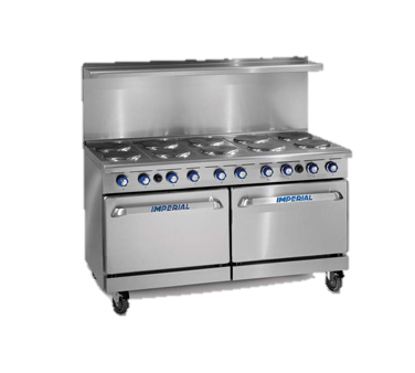 "superior-equipment-supply - Imperial - Imperial Stainless Steel Ten Round Elements Two Convection Ovens 60"" Wide Electric Range"