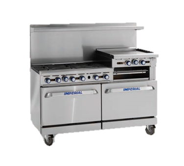 "superior-equipment-supply - Imperial - Imperial Stainless Steel Six Burner Raised Griddle Convection Oven & Open Cabinet 60"" Wide Range"
