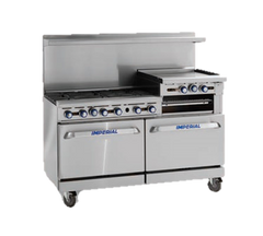 "superior-equipment-supply - Imperial - Imperial Stainless Steel Six Burner Raised Griddle Convection Oven 60"" Wide Gas Range"