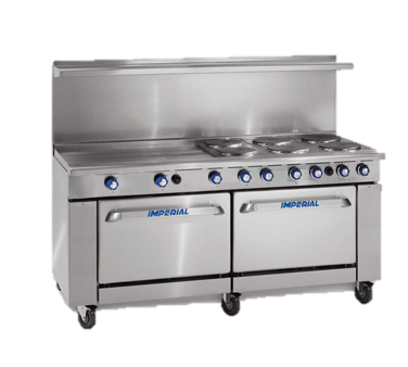 "superior-equipment-supply - Imperial - Imperial Stainless Steel Four Round Elements Electronic Thermostat Convection Oven 72"" Wide Electric Range"