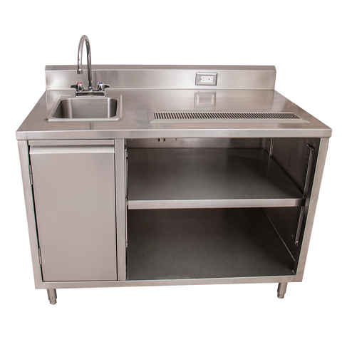 "BK Resources Stainless Steel Beverage Table 48""W X 30""D Sink On Left With BKF-4DM-5G-G Gooseneck Faucet"