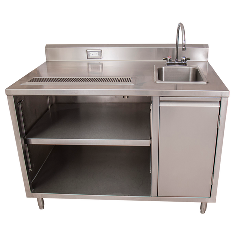 "BK Resources Stainless Steel Beverage Table 48""W X 30""D Sink On Right With BKF-4DM-5G-G Gooseneck Faucet"