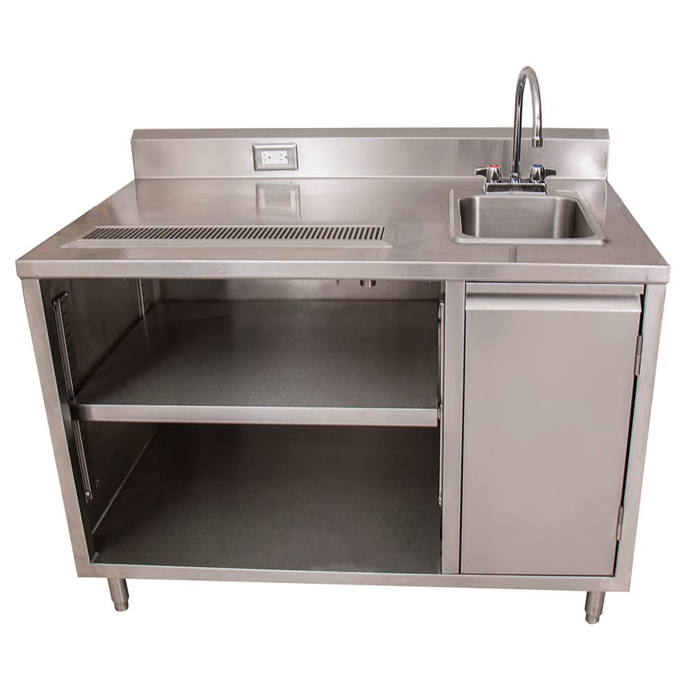"superior-equipment-supply - BK Resources - BK Resources Stainless Steel Beverage Table 60""W X 30""D Sink On Right With BKF-4DM-5G-G Gooseneck Faucet"