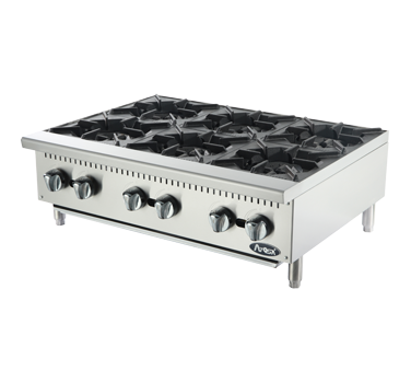 "Atosa Stainless Steel Six Burner Countertop Gas Hotplate 36"" Wide"