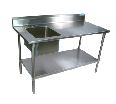 "superior-equipment-supply - BK Resources - BK Resources Stainless Steel Prep Table w/Sink 60""W x 30""D"