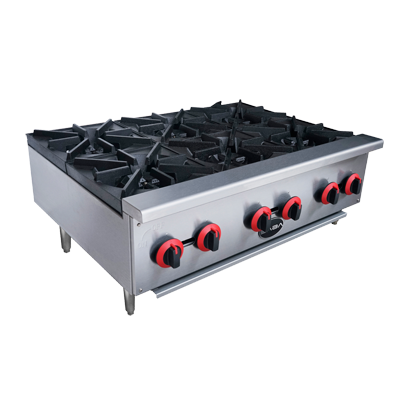 "SABA Six Burner Stainless Steel Countertop Gas Hotplate 36"" Wide"