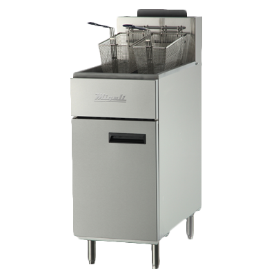 "Migali Competitor Series 40 lb. Natural Gas Fryer Floor Model 15,6"" Wide Stainless Steel With Legs"