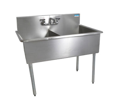 "BK Resources Stainless Steel Two Compartment Budget Sink 27-1/2""D"