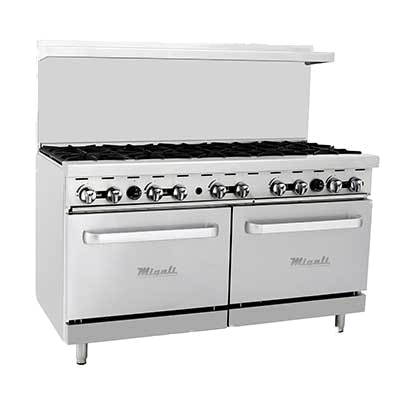 "Migali 60"" Wide Ten Burner Stainless Steel Natural Gas Restaurant Range With Two Ovens"