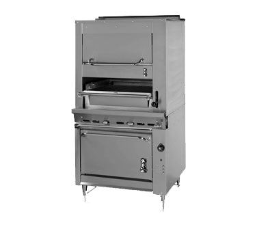 "Montague Stainless Steel Infrared Deck Broiler Oven Base and Upper Warming Oven 36"" Wide Gas With Black Top & Sides"