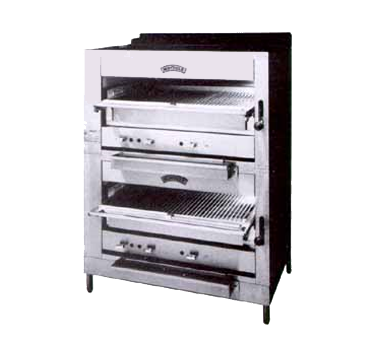 "Montague Stainless Steel Double Deck Broiler 36"" Wide Gas With Black Top & Sides"