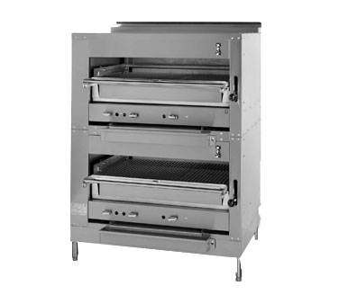 "Montague Stainless Steel Double Deck Infrared Adjustable Gas Broiler 45"" with Black Sides and Top"
