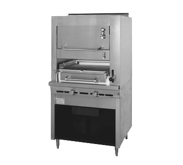 "Montague Stainless Steel Infrared Deck Adjustable Gas Broiler with Cabinet Base and Warming Oven 45"" with Black Sides and Top"