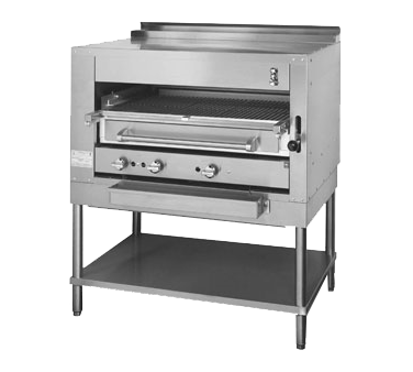 "Montague Stainless Steel Front and Top with Infrared Deck Adjustable Gas Broiler 45"" with Black Sides"