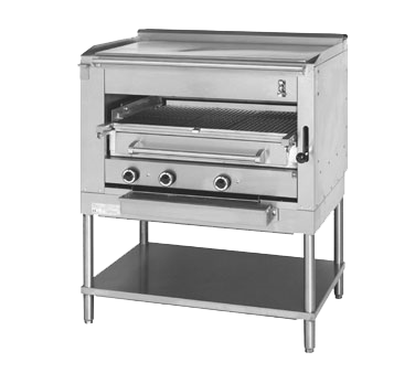 "Montague Stainless Steel Infrared Deck Steakhouse Gas Broiler 45"" with Black Sides and Plancha Top and Chrome Plated Sections"