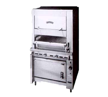 "Montague Stainless Steel Infrared Deck Adjustable Gas Broiler & Convection/Warming Oven 36"" with Black Sides and Top"