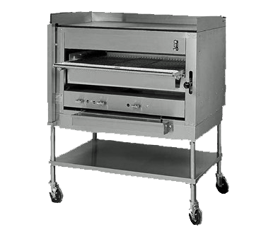 "Montague Stainless Steel Infrared Gas Deck Adjustable Broiler 36"" with Thick Plate on Top with Side and Backsplash and Black Sides"
