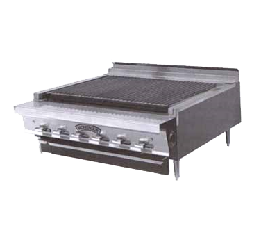 "Montague Stainless Steel Radiants Countertop Charcoal Broiler 18"" with Black Sides"