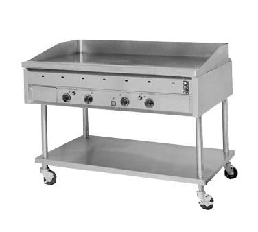 "Montague Stainless Steel Heavy Duty 48"" Wide Gas Griddle 1"" Thick Plate with 24"" Deep Grill Area"