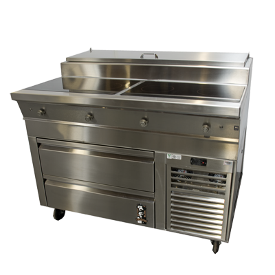"Montague Stainless Steel 48"" Wide Induction Range with Self-Closing Refrigerated Drawers"