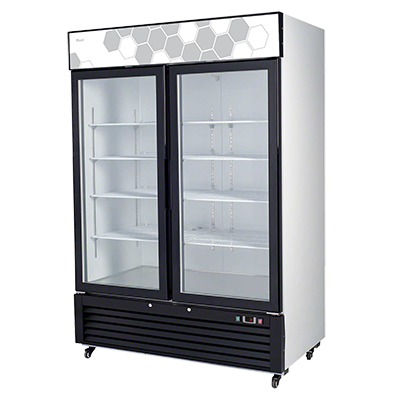 superior-equipment-supply - Migali - Migali Two Section Glass Door White Powder Coated Steel Exterior Freezer Merchandiser