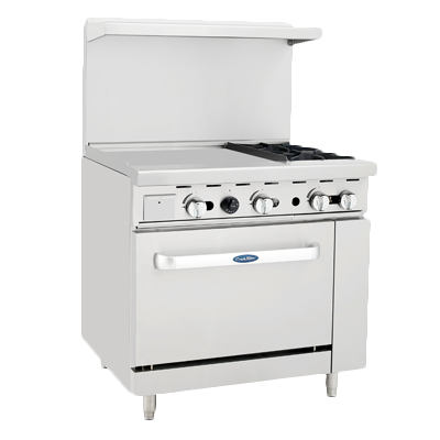 "superior-equipment-supply - Atosa Catering Equipment - Atosa Two Burner Gas Range 36""W With Griddle 24""W"
