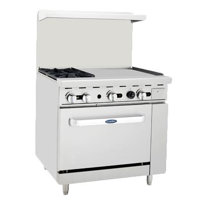 "Atosa 36"" Wide Two Burners Gas Range With 24"" Griddle"